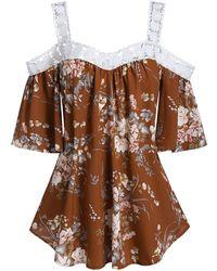 Rosegal Plus Size Open Shoulder Ditsy Print Appliques T Shirt - Brown