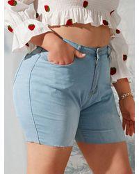 Rosegal High Waisted Raw Hem Plus Size Denim Shorts - Blue