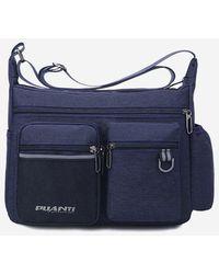 Rosegal Letters Pockets Travel Waterproof Shoulder Bag - Blue