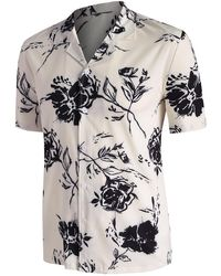 Rosegal Rose Printed Short Sleeve Shirt - White