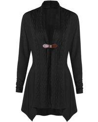 Rosegal One Buckle Knitted Asymmetrical Cardigan - Black