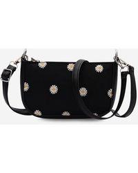 Rosegal Floral Daisy Pattern Shoulder Bag - Black