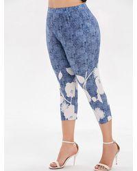 Rosegal Plus Size Space Dye Capri Leggings - Blue
