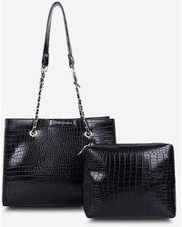 Rosegal 2pcs Textured Square Chain Shoulder Bag Set - Black