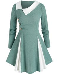 Rosegal Plus Size Bicolor Godet Skew Collar A Line Tunic Sweater - Green
