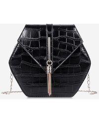 Rosegal Retro Tassel Irregular Chain Crossbody Bag - Black