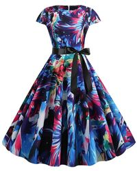 Rosegal - Watercolor Print Round Neck Belted A Line Dress - Lyst