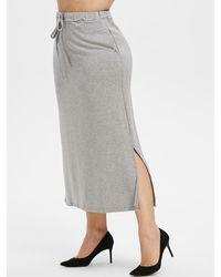 Rosegal Plus Size Drawstring Maxi Straight Skirt - Gray