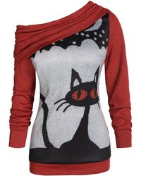 Rosegal Skew Neck Convertible Cat Print Halloween Sweater - Black