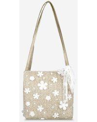 Rosegal Applique Lace Woven Shoulder Bag - Multicolor