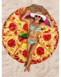 Rosegal Pizza Print Round Beach Blanket - Multicolor