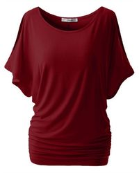 Rosegal Plus Size Split Sleeve Ruched Tunic Top - Red