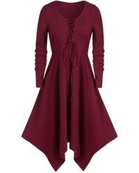 Rosegal Plus Size Asymmetric Long Sleeve Lace Up Dress - Red