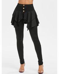 Rosegal Solid Elastic Waist Pencil Skirted Pants - Black