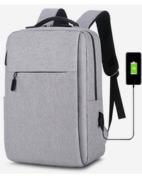 Rosegal Rectangle Travel Sports Usb Interface Backpack - Gray
