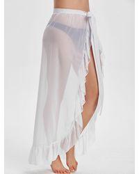 Rosegal Ruffle Sheer Chiffon Maxi Sarong - White