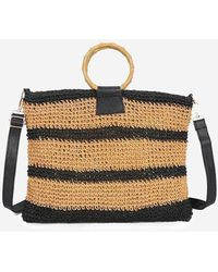 Rosegal Striped Woven Circle Handle Crossbody Bag - Black