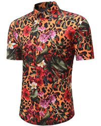 Rosegal Leopard Floral Print Button Up Hawaii Shirt - Multicolor