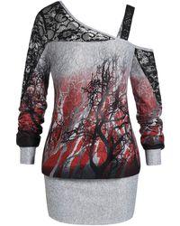 Rosegal - Plus Size Skew Neck Ombre Tree Print Blouson Halloween Sweatshirt - Lyst