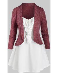 Rosegal Plus Size Shawl Collar Short Cardigan And Jabot Top Set - Red