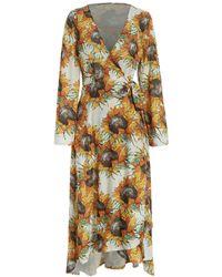 Rosegal Long Sleeve Sunflower Print Wrap Dress - Multicolor