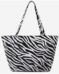 Rosegal Zebra Print Canvas Tote Bag - Black