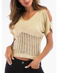 Rosegal - Ripped V Neck Open Shoulder Knitwear - Lyst
