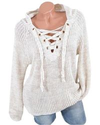 Rosegal - Lace Up Raglan Sleeves Hooded Sweater - Lyst