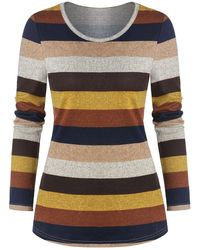Rosegal Long Sleeve Colorful Striped Print T-shirt - Multicolor