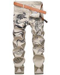 Rosegal Animal Graphic Casual Denim Pants - Multicolor