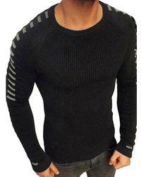 Rosegal Drape Panel Design Pullover Sweater - Black