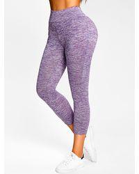 Rosegal Space Dye Print Skinny Leggings - Purple