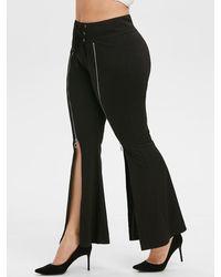 Rosegal Plus Size Slit Front Lace-up Zipper Flare Pants - Black