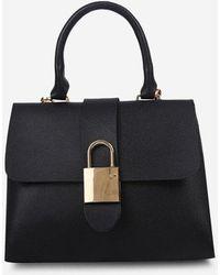 Rosegal Lock Shape Embellished Cover Handbag - Black