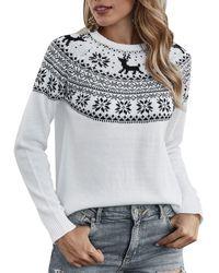 Rosegal Christmas Elk Graphic Crew Neck Sweater - White