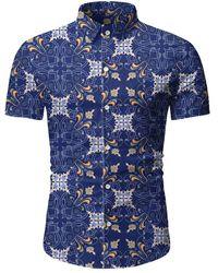 Rosegal Vintage Print Button Short Sleeves Shirt - Blue