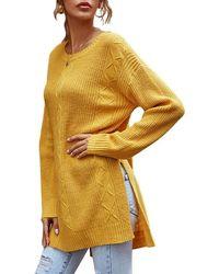 Rosegal Crewneck Side Slit Stepped Hem Tunic Sweater - Yellow