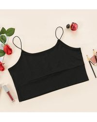 Rosegal - Plus Size Bungee Strap Ribbed Cropped Cami Top - Lyst