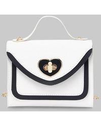 Rosegal Heart Shape Colorblock Hasp Chain Handbag - White