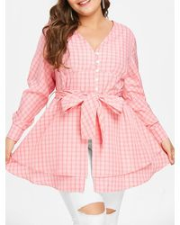 Rosegal Plus Size Bowknot Gingham Blouse - Pink