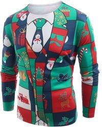 Rosegal Christmas Elements Blazer Print Long Sleeve T-shirt - Multicolor