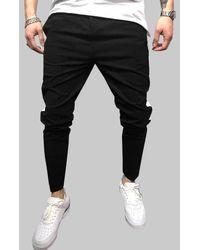 Rosegal Side Striped Zipper Fly Pencil Pants - Black