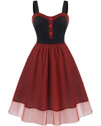 Rosegal Plus Size Mesh Overlay Cocktail Party Dress - Red