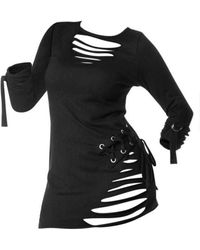 Rosegal Lace-up Ripped Long Sleeve Gothic T-shirt - Black