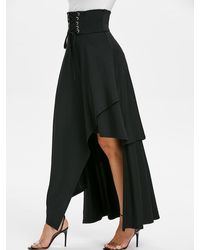 Rosegal High Waisted Asymmetric Lace-up Layered Maxi Skirt - Black