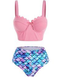 Rosegal Mermaid Print Textured Push Up Scalloped Tankini Swimwear - Pink