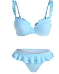 Rosegal Ruffle Underwire Full Coverage Bikini Swimwear - Blue