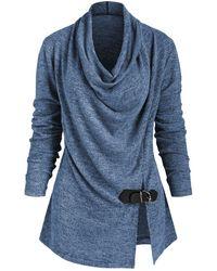 Rosegal Heather Slit Buckle Cowl Neck Knitwear - Blue
