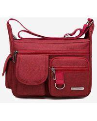 Rosegal Outdoor Business Pockets Shoulder Bag - Red