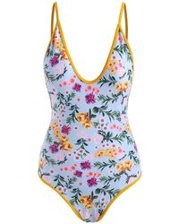 Rosegal Contrast Binding Floral Backless One Piece Swimsuit - Blue